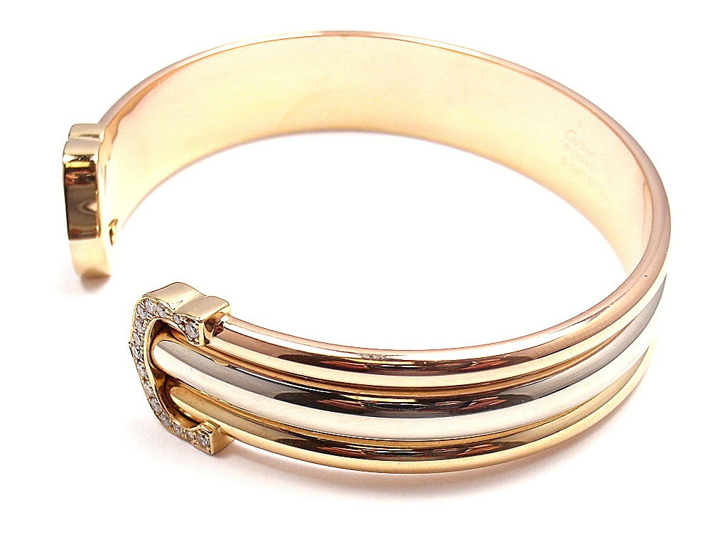 cartier c tri color gold bracelet at 1stdibs