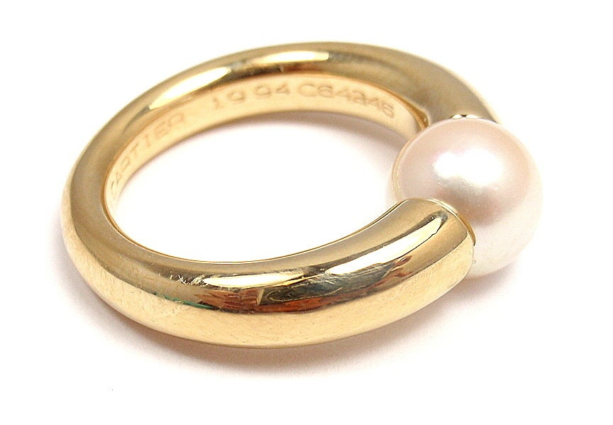 cartier pearl yellow gold ring at 1stdibs