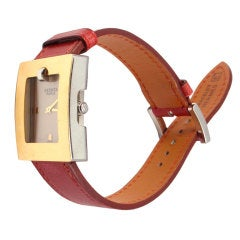 HERMES Leather Belt Gold Plated Ladies Wrist Watch