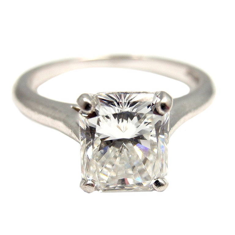 CARTIER Solitaire Diamond Platinum Engagement Ring at 1stdibs