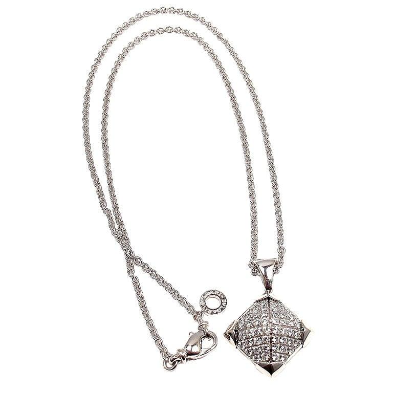 "BULGARI Diamond ""Piramide"" White Gold Necklace"