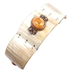 FEDERICA RETTORE Zebu Horn Diamond Opal Rose Gold Bracelet