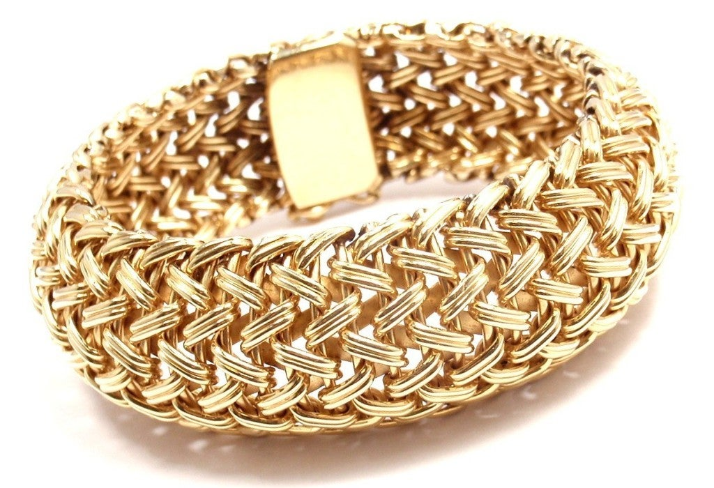 TIFFANY & CO Wide Woven Braided Yellow Gold Bracelet image 2