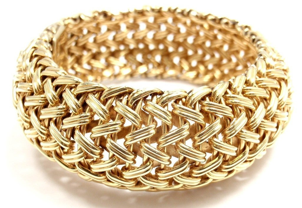 TIFFANY & CO Wide Woven Braided Yellow Gold Bracelet image 3