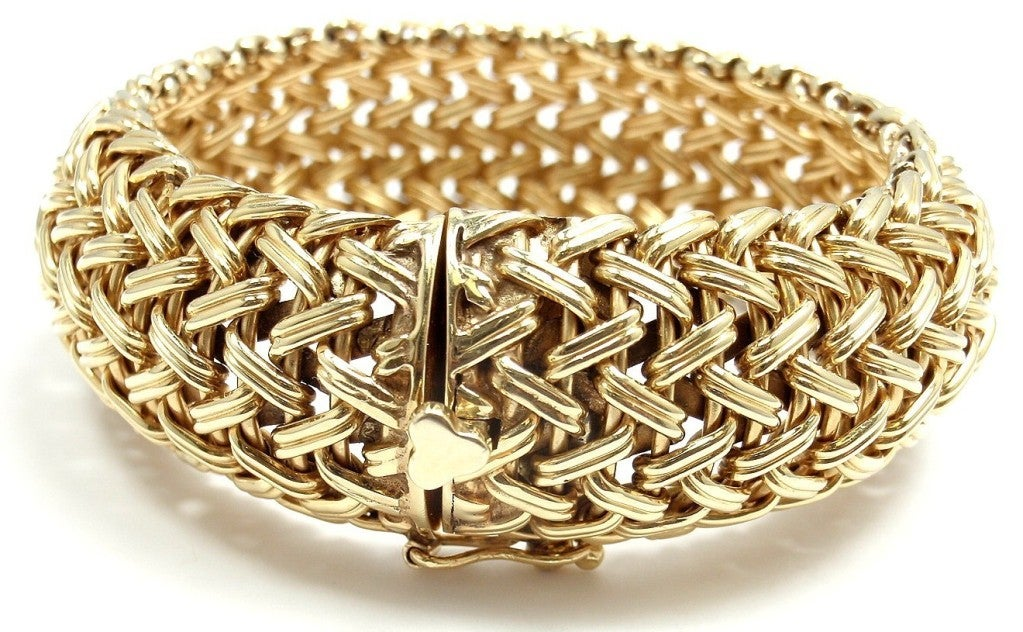 TIFFANY & CO Wide Woven Braided Yellow Gold Bracelet image 4
