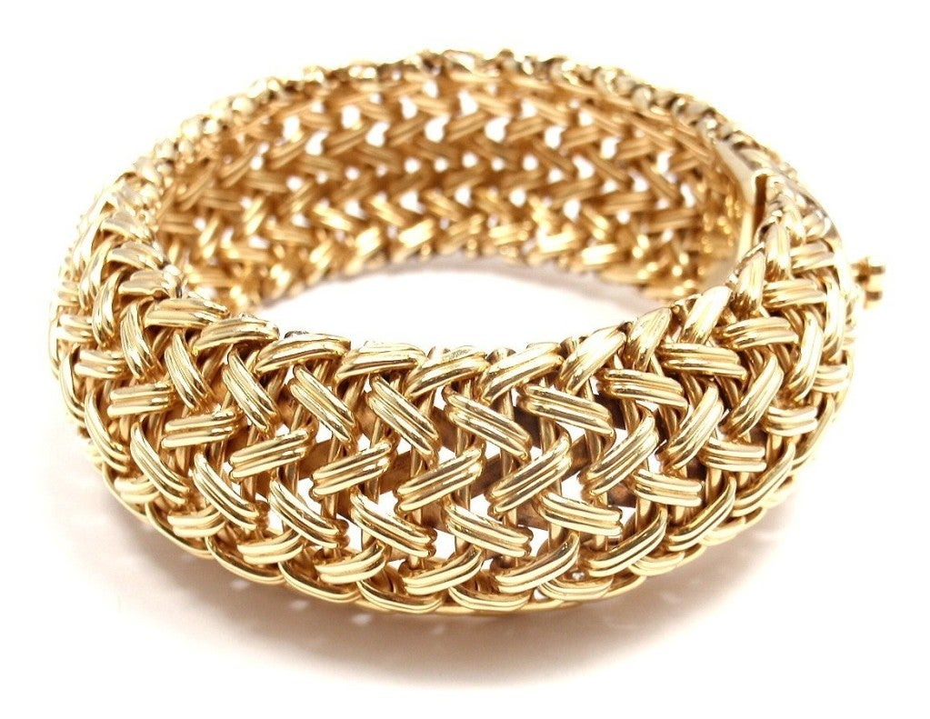 TIFFANY & CO Wide Woven Braided Yellow Gold Bracelet image 5