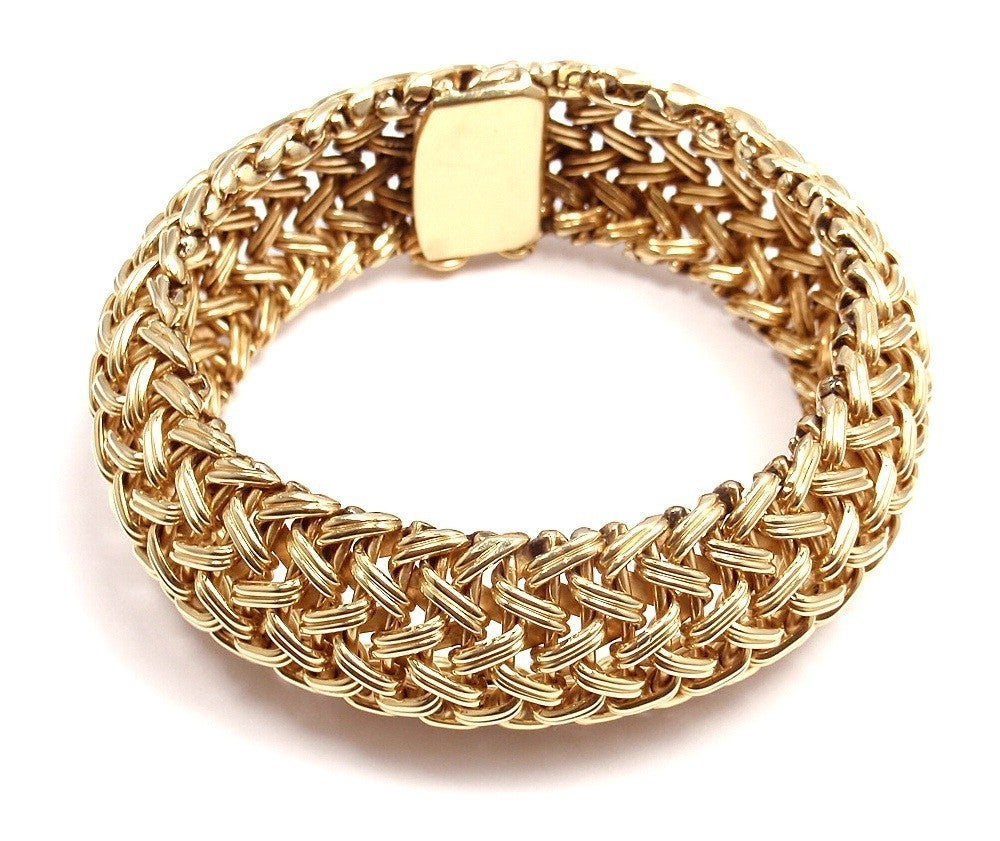 TIFFANY & CO Wide Woven Braided Yellow Gold Bracelet image 6