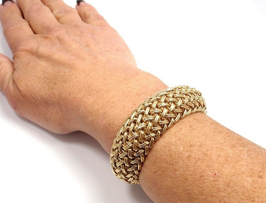 TIFFANY & CO Wide Woven Braided Yellow Gold Bracelet image 9