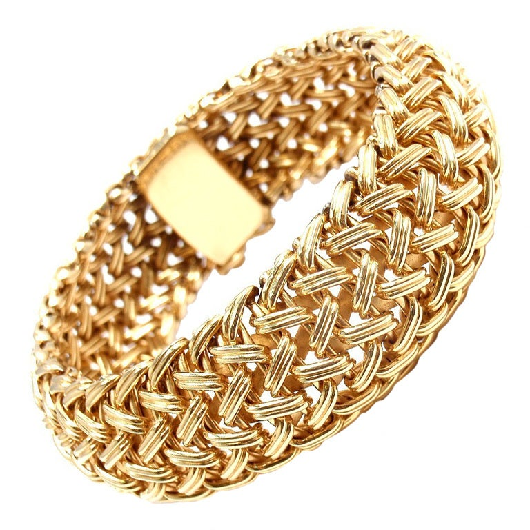 TIFFANY & CO Wide Woven Braided Yellow Gold Bracelet