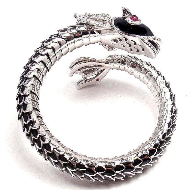 Roberto Coin 18k Gold Nemo Diamond & Ruby Bangle Bracelet 3Nfm6HN
