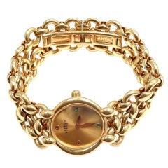 Hermes Lady's Yellow Gold Bracelet Watch
