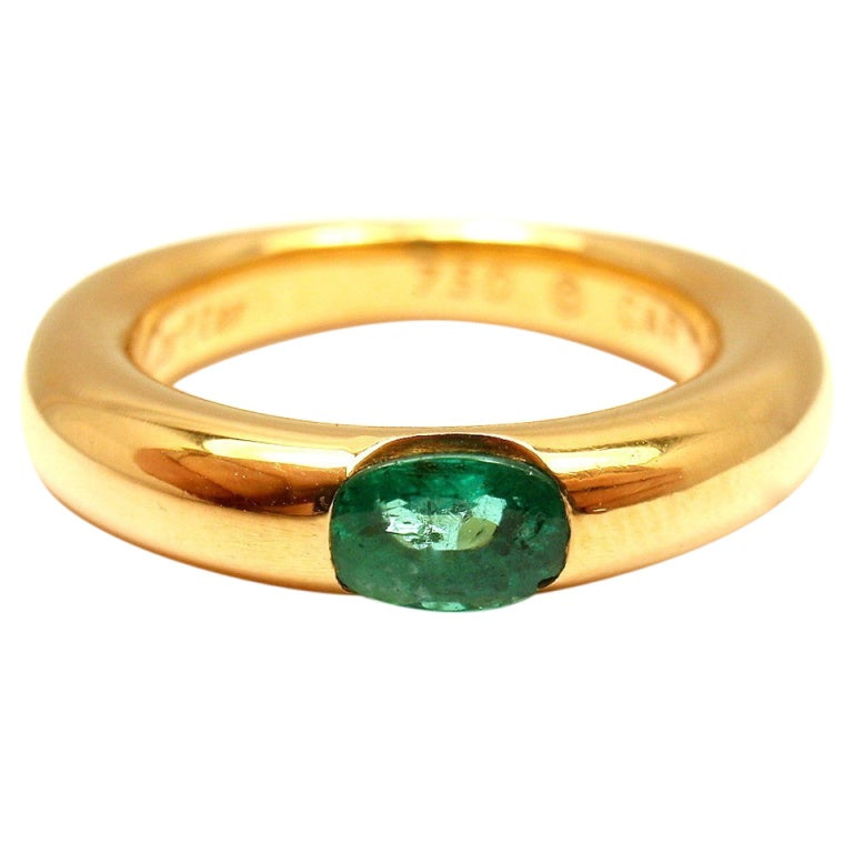 cartier elipse emerald yellow gold band ring at 1stdibs