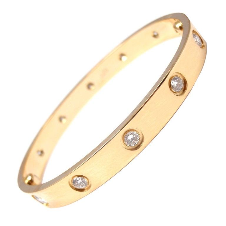 cartier yellow gold ten diamond love bracelet size 16 at fashion jewelry clip on earrings Woman Wearing Jewelry Clip Art