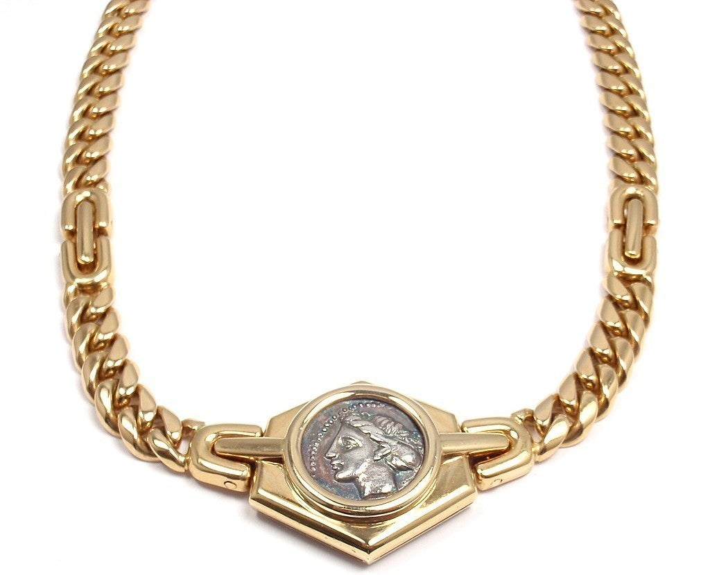 bulgari ancient coin link yellow gold necklace at 1stdibs