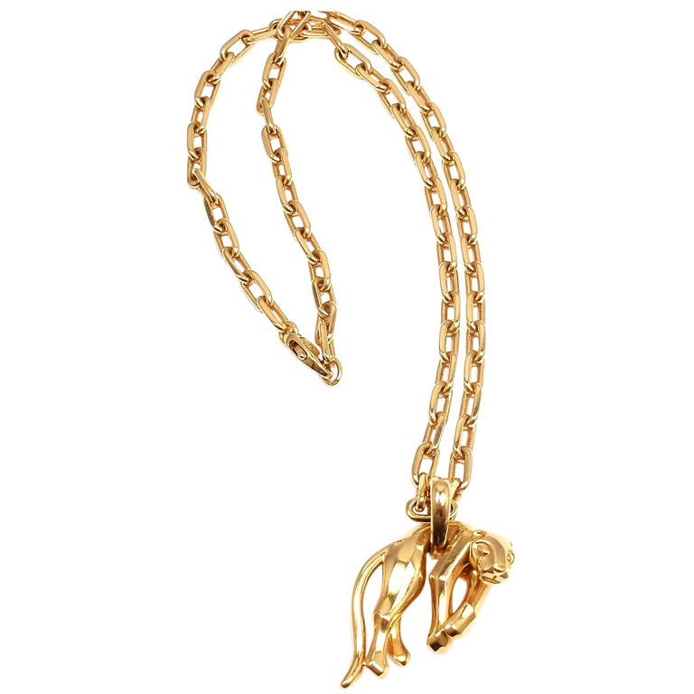 Cartier Panther Panthere Pendant Link Yellow Gold Necklace