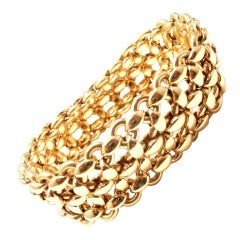 Hermes Wide Link Yellow Gold Bracelet
