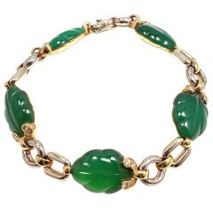 CARTIER Diamond Green Chalcedony Yellow & White Gold Bracelet