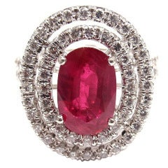 Fantastic Diamond 3.01ct Oval AGL Certificate Ruby Platinum Ring