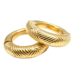 Ilias Lalaounis Large Hoop Yellow Gold Earrings