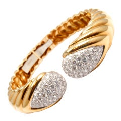 DAVID WEBB Diamond Yellow Gold Platinum Bangle Bracelet