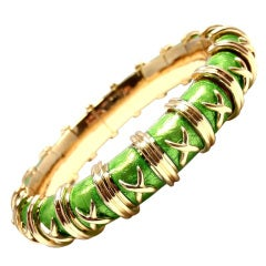 TIFFANY & CO Schlumberger Croissillon Green Enamel Gold Bracelet