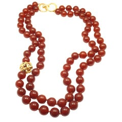 Angela Cummings yellow gold red jasper bead double necklace