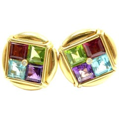 BULGARI yellow gold diamond, tourmaline, peridot, aqua earrings.