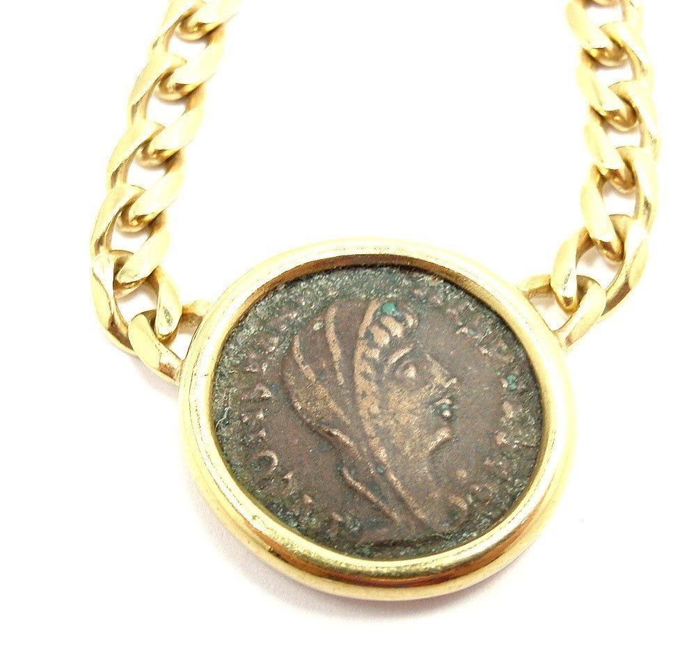bulgari yellow gold ancient coin necklace at 1stdibs
