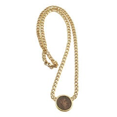Bulgari yellow gold ancient Roman coin necklace.