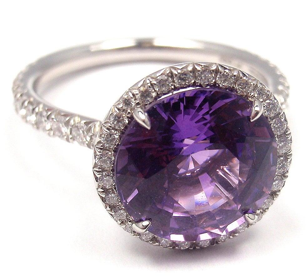 TIFFANY & CO. Purple Sapphire Diamond Platinum Ring image 3
