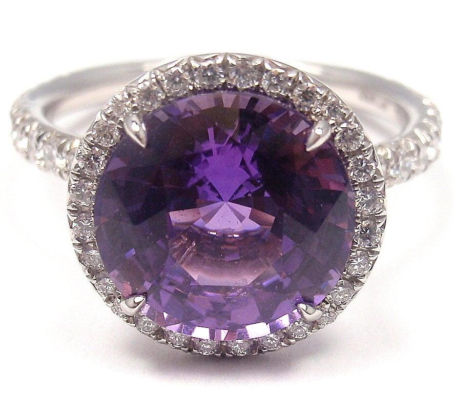 TIFFANY & CO. Purple Sapphire Diamond Platinum Ring image 7