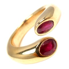 CARTIER Ellipse Deux Tetes Croisees 18k ruby ring