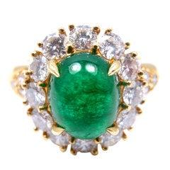 VAN CLEEF & ARPELS Cabochon Emerald Diamond Yellow Gold Ring