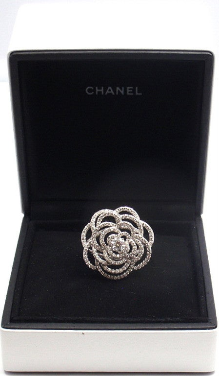 Chanel Camelia Flower Diamond White Gold Ring At 1stdibs