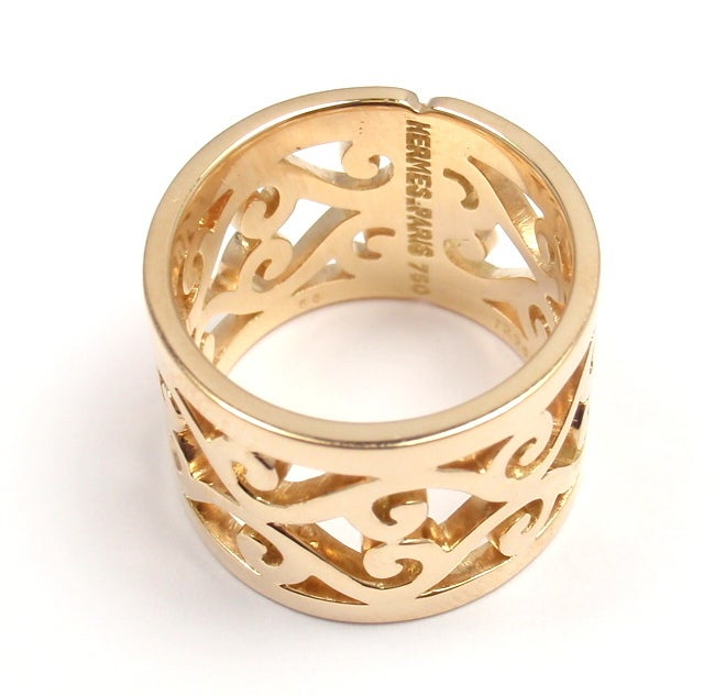 hermes swirl pattern wide yellow gold ring at 1stdibs