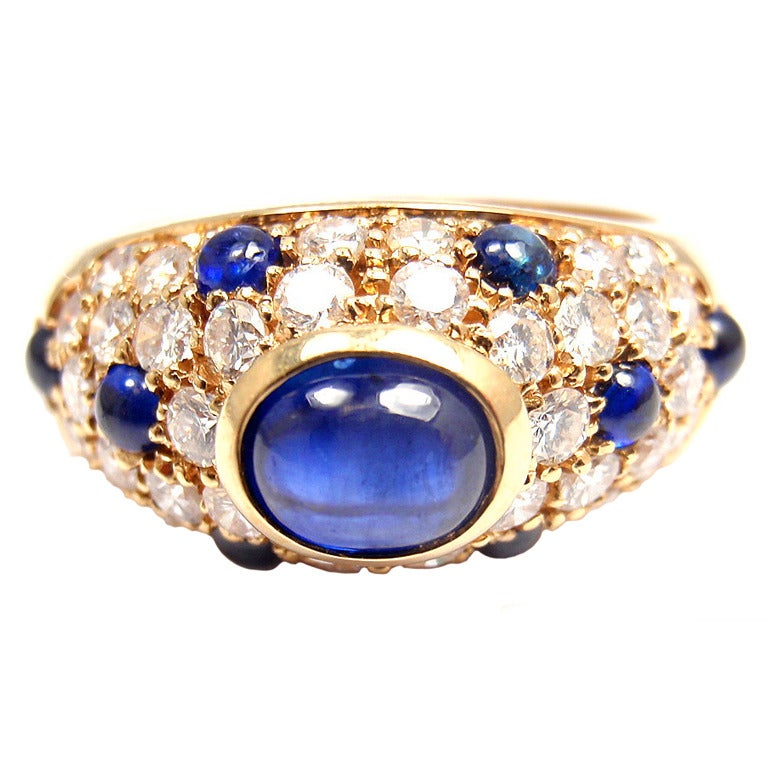 Cartier Yellow Gold Panthere Sapphire Rings