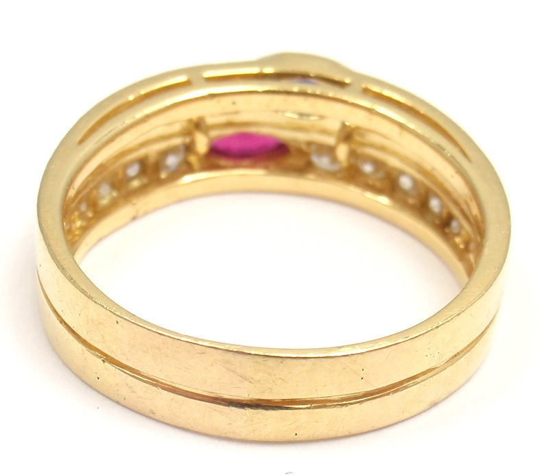 Van Cleef & Arpels Diamond Ruby Sapphire Yellow Gold Ring For Sale 1