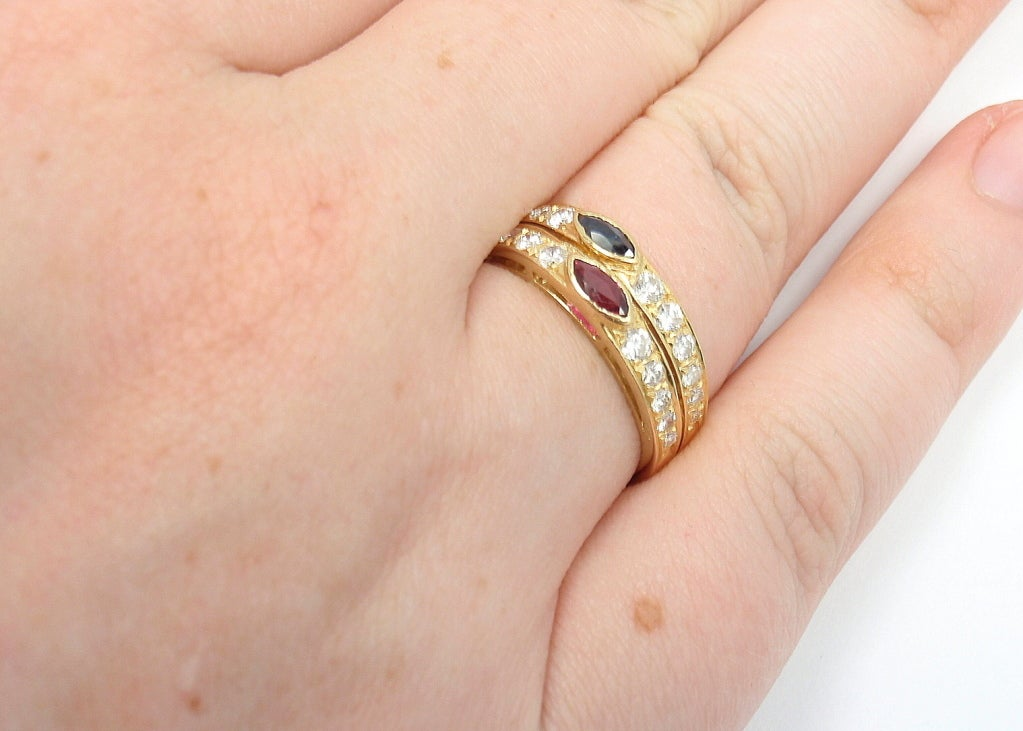 Van Cleef & Arpels Diamond Ruby Sapphire Yellow Gold Ring For Sale 3
