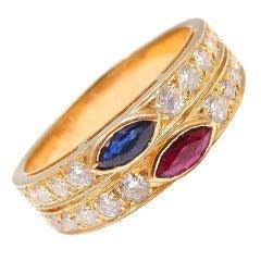 Van Cleef & Arpels Diamond Ruby Sapphire Yellow Gold Ring