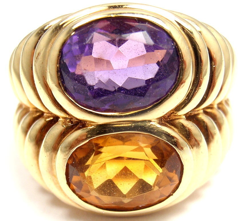 Bulgari Amethyst Citrine Yellow Gold Ring image 2