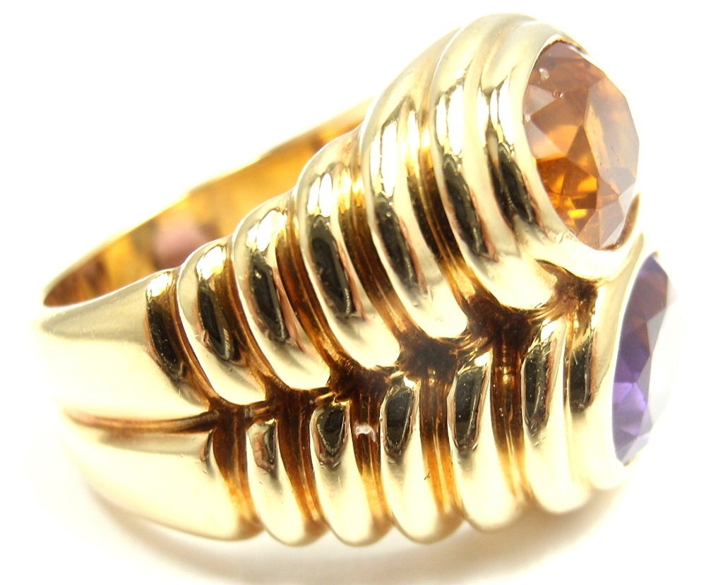 Bulgari Amethyst Citrine Yellow Gold Ring image 4