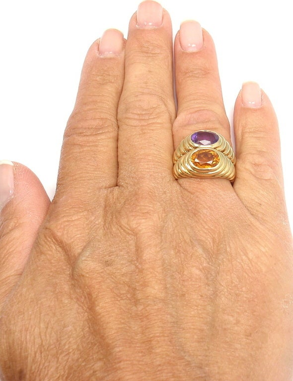 Bulgari Amethyst Citrine Yellow Gold Ring image 8