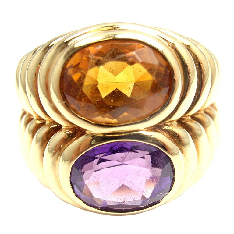 Bulgari Amethyst Citrine Yellow Gold Ring