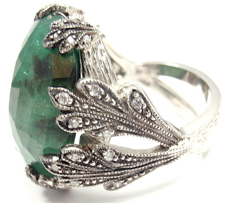 cathy waterman large emerald platinum ring at 1stdibs