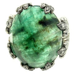 Cathy Waterman Large Emerald Diamond Platinum Ring