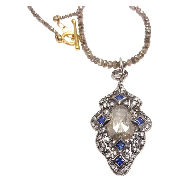 cathy waterman sapphire platinum and gold pendant