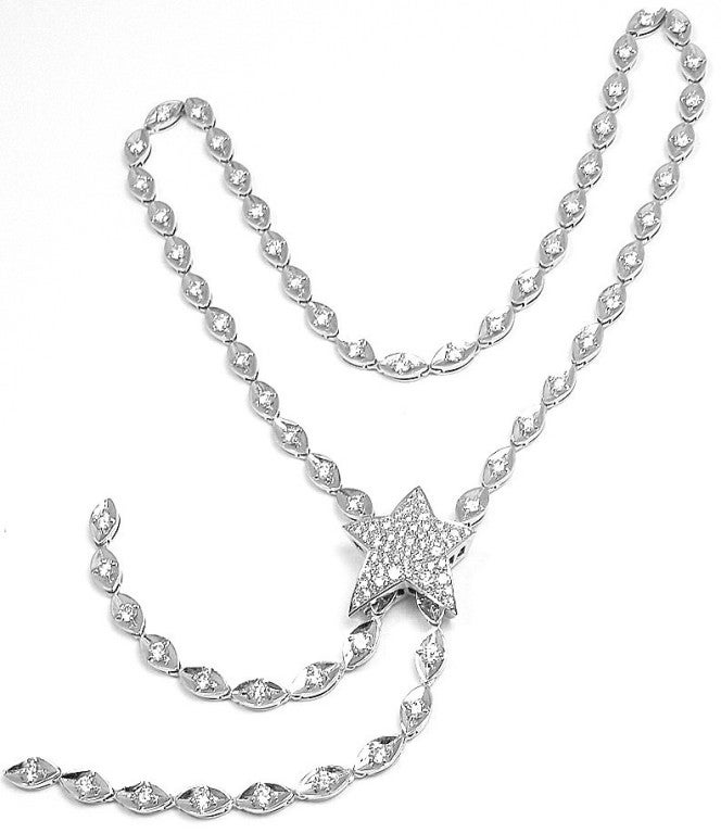 chanel comete 5ct lariat white gold necklace at