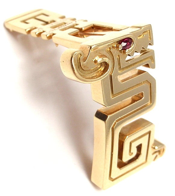 CARTIER Le Baiser Du Dragon Ruby Yellow Gold Pin 4