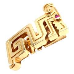 CARTIER Le Baiser Du Dragon Ruby Yellow Gold Pin