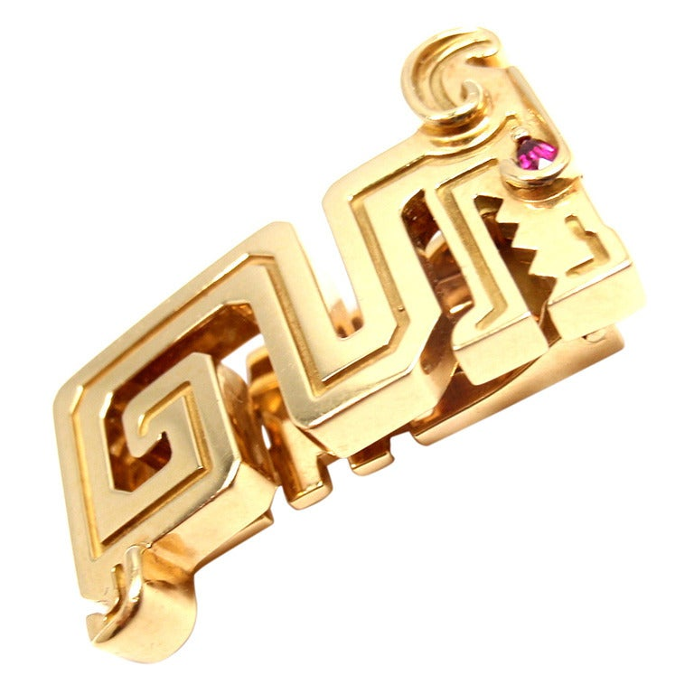 CARTIER Le Baiser Du Dragon Ruby Yellow Gold Pin 1